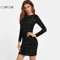 COLROVIE Abito damascato con stampa elegante Party buco con chiusura posteriore Donna Bodycon Mini Club Abiti Autunno 2017 Moda manica lunga Sexy Dress q1113