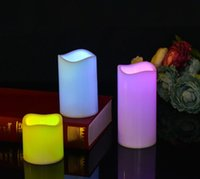 fernbedienung elektronische kerzen großhandel-Am billigsten!!! Flammenlose Kerzen Elektronische Echtwachssäule LED-Kerzen mit 18-Tasten-Fernbedienung 7 Farbdetail-Kastenverpackung