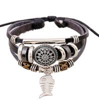 Wholesale Handmade Bone Pendant - BAY Fish bone pendant Bracelets New handmade bracelet Charms Infinity Bracelet leather Bracelet Charm bracelet girl jewelry