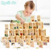 образовательный английский планшет оптовых-1SET = 100Pcs, апрель Du Learn Chinese Mandarin Wooden Domino Блоки экологически чистые односторонние наборы
