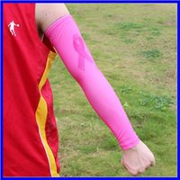 Wholesale cancer blue ribbon - cancer breast ribbon camo arm sleeve for Baseball softball sport 120pcs different color 7 size in stock