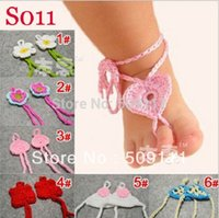 Wholesale Wholesale Crocheted Footless Sandals - Wholesale-Newborn Foot flower Footless crochet Baby Bootie Sandal Blossom Footless Sandal Barefoot Sandal Toe accessories 10pairs S011
