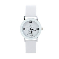 Wholesale Wrist Watch Women Butterfly - White PU Leather Analog Acrylic Quartz Wrist Watch New Fashion&Casual Designer For Men and Women