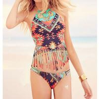 Wholesale Triangle Fringed - 2016 Sexy Women Retro Print Triangle Halter Fringed Brazilian Bikini Set Swimwear High Neck Swimsuit Summer Beach Bathing Suit