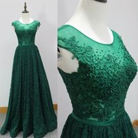 Wholesale China Made Dresses For Sale - Real Image Dark Green Lace Evening Dresses Column Illusion Jewel Bow Sashes Sheer Back Formal Party Gowns Cheap From China For Sale