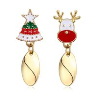 Wholesale Unique Themes - Christmas Theme Deer Tree Earrings Yellow Gold Plated Rose Gold Girls Women Jewelry Unique Free Shipping