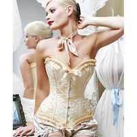 Wholesale Full Steel Bone Corset - Free Shipping +Elegant Ivory Beige Full Steel Strap Boned Corset Bustier Top Lace up Overbust