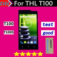 Wholesale Original Thl - Wholesale-Free Shipping! Original New Touch Screen Digitizer Glass Lens Assembly and LCD Display for THL T100S T100 Cellphone 5.0 inch
