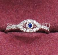 Wholesale Turkish Sterling Jewelry - 925 sterling silver evil eye rings Zircon turkish evil eye jewelry for women & girls engraved 925 size 4.5-8, free shipping