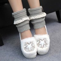Wholesale Hunters Socks - Wholesale-Casual Design Lace Flowers Women Knitted Leg Warmers for Boots Hunter Cuff Ladies Winter Warmer Long Socks Female Gaiters JT6024
