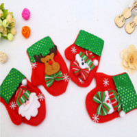 Wholesale Women Discount Gloves - New style Christmas children Gloves gift red Candy bag Knife and fork bag 20% Discount Free shipping Santa Claus