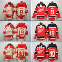 Wholesale Detroit Red Wing Sweatshirt - Mens Detroit Red Wings Hoodie 19 Steve Yzerman 40 Henrik Zetterber 9 Gordie Howe Old Time Ice Hockey Jersey Hoodies Sweatshirt stiched S-3XL