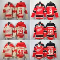 Wholesale Detroit Sweatshirt - Mens Detroit Red Wings Hoodie 19 Steve Yzerman 40 Henrik Zetterber 9 Gordie Howe Old Time Ice Hockey Jersey Hoodies Sweatshirt stiched S-3XL