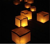 Wholesale Square Paper Lamp - Floating Water Lamp Square Chinese Lanterns Square Blessing Light Krathong Festival Lanterns Wishing Water River Candle Light Paper Lanterns