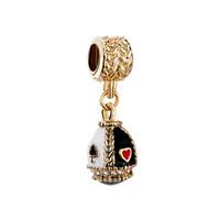 ostern perlen armbänder großhandel-Faberge Ei Anhänger Spielkarten baumeln Ostertag Charm europäische Spacer Perlen passen Pandora Chamilia Biagi Charm Armband