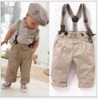 Wholesale Boys Braces Outfit - 3Pcs Baby Boy Clothes Toddler Set 2015 Hot Sale Gentleman Overalls Outfit Tops+Pants+Braces 0-5Y Kids Clothing Infant Baby Boys Set Suits