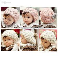 Wholesale Handmade Baby Beret - Free shipping!Kids Girls Baby Handmade Crochet Knitting Beret Hat Cap Cute Warm Beanie H6622 P