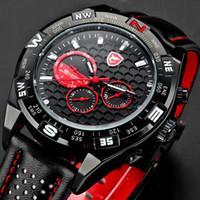 Wholesale Mens Wrist Watch Quartz Shark - Genuine SHARK Mens 6 Hands Date Day Display Stainless Steel Case Leather Band Black Red Sports Analog Quartz Wrist Watch   SH080