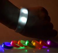 Wholesale Band Sensor - Silicone Flashing LED Shake Vibration Activated Motion Sensor Bracelet Wrist band bands Disco Bangle DHL FEDEX FREE SHIPPING
