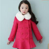 Wholesale Girls Winter Buckle Coat - Wholesale-The new winter 2015 of girls woolen cloth coat wool collars buckles children's cotton coat free shipping