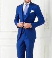düğün damat için en uygun toptan satış-Yeni Gelenler Iki Düğme Kraliyet Mavi Damat Smokin Tepe Yaka Sağdıç Best Man Takım Elbise Erkek Düğün Takımları (Ceket + Pantolon + Yelek + Kravat) NO: 1033