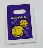 sacos plásticos da jóia da cor venda por atacado-MIC 100 pcs Roxo Cor Bonito smiley Plastic Jewelry Gift Bag. 9X15 cm
