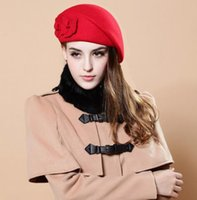 Wholesale Ladies Wool Church Hat - Free Shipping Autumn and Winter Double Flower Wool Beret Hat Fashion Lady Stewardess Felt Cap AL M9