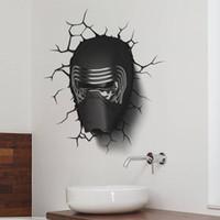 Wholesale Helmets Parts - 3D Broken Sticker Star Wars Awakens Darth Vader Knight Helmet Wall Sticker Part Home Decal Boys Bedroom Decor Poster for Kids Room