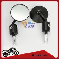"""Wholesale Cnc Bar End Mirrors - CNC Aluminum Black Round 7 8"""" Handle Bar End Motorcycle Rearview Side Mirror For Harley Davidson Honda Ducati order<$18no track"""