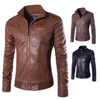 Wholesale fitness brands coats - 2017 New Fashion PU Leather Jacket Men Masculina Brand Mens Jackets And Coats Skinny Fitness Motorcycle Jacket Black