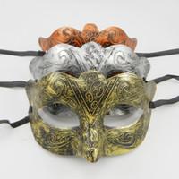 traje de fantasia de homem venda por atacado-Grega homem máscara de olho vestido de fantasia romanos guerreiros traje de festa de máscaras venezianas máscara de casamento mardi gras dança favor cobre de prata de ouro