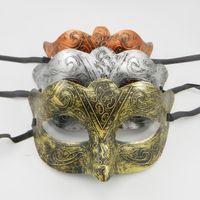 Wholesale halloween greek costumes - Greek Man Eye mask Fancy dress Roman warriors Costume Venetian masquerade party Mask wedding mardi gras dance favor gold silver copper