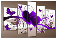 Wholesale Group Oil Paintings - 5 piece group wall art Free Shipping Purple And Red Heart Love Butterfly Pure hand-painted Oil painting On Canvas Art For Home D