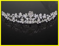 Wholesale Dazzling Crown Princess Tiara - 18004 Dazzling Crown Homecoming Party Prom Wedding Bridal Accessories Bridal Headpiece Flower Princess Tiaras In Stock Cheap Pretty