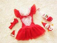 Wholesale Cute Dress Korea Girl - 2016 Christmas special swimsuit Korea cute baby dress-piece swimsuit children BH1760