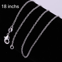 Wholesale o pendant - 925 Silver Chain 1mm 18 inch O Chain Necklace  50cm Stainless steel Chain Fit DIY pendant Necklaces Christmas Gift C001