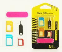 mikro sim adaptörleri toptan satış-5 in 1 Metal Sim Adaptör Kiti Nano için Mikro / standart SIM Kart Adaptörü Ile perakende paket iphone 6 4 5