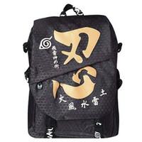 Wholesale Konoha Logo - Wholesale-Naruto Shippuden Anime Konoha Logo Dual-use Backpack
