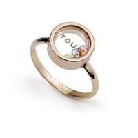platten für schwimmende charme-medaillons großhandel-Schwimmende Medaillon Ringe Kristall Ring Klassische 18K vergoldete Ringe Fluoreszierende Buchstaben LED schwimmende Charme Glas Box Ringe