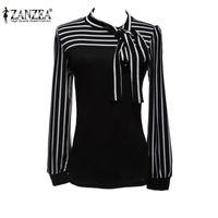 Wholesale Lantern Sleeve Blouse - Plus Size S-4XL 2015 Hot Sale OL Women Blouse Shirt Fashion Black White Striped Bowknot Tops Long Sleeve Blusas Femininas FG1511
