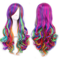Wholesale Long Curly Hair Bangs - Party wigs cosplay synthetic lace front wig 70cm Rainbow-colored long hair bangs wig women Mix Colored Harajuku multicolor cheap wigs