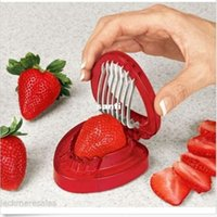 Wholesale Plastic Cutting Knife - Strawberries cut fruit knife SIMPLY SLICE STAINLESS STEEL BLADE STRAWBERRY SLICER DESSERTS