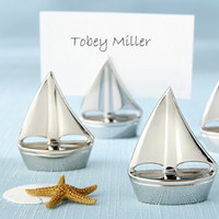 Wholesale Sail Boat Place Cards - Shining Sails Silver Boat Place Card Holder name picture holder frame 40PCS LOT Event & Party Supplies