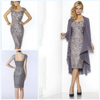 Wholesale grey chiffon sleeve dress - Grey Elegant Sweetheart Mothers Dresses Tea Length Sheath Lace Mother Of The Bride Groom Dresses with Jacket Moms Gowns