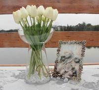 flor de tulipán de seda artificial al por mayor-(34 cm 7 colores) r venta al por mayor 50 unids / lote PU mini flor de tulipán toque real flor de la boda flor artificial flor de seda decoración del hogar