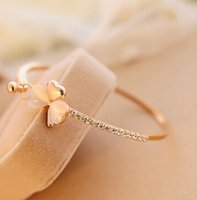 Wholesale Golden Clover - Hot Clover Bracelets fashion golden bangle high quality wedding jewelry party gift for Valentine Day gift free shipping