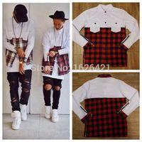 Wholesale Men S Plaid Flannel Shirt - Wholesale-2015 Cool hba men streetwear t shirts ,side zipper plaid Pockets hip hop Red White flannel brand Tyga Shirt tartan mma clothes