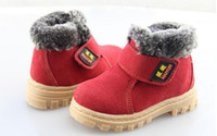 Wholesale Antiskid Shoes - 2015 NEW Winter kids thermal boots, Children warm antiskid snow boots cow muscle bottom, Kid cow leather shoes