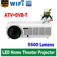 Wholesale Led 3d Beamer Full Hd - Factory Price !!! LED96 5500lumens Video HDMI USB TV 1280x800 Full HD 1080P Home Theater 3D LED projector Projetor proyector beamer DHL