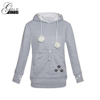 Gold Hands Kangaroo Pocket Felpe Donna Hooded With Cat Ear Pullover Carry Pet Tenere al caldo per Little Cat and Dog
